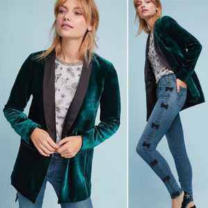 Anthropologie Cartonnier Green Velvet Blazer 4 8
